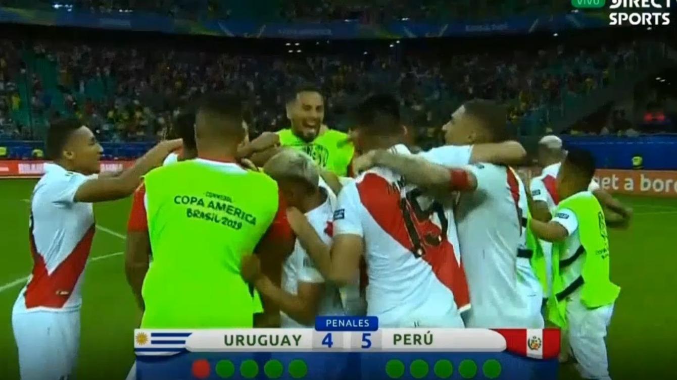 Así fue la celebración de Perú tras vencer a Uruguay.