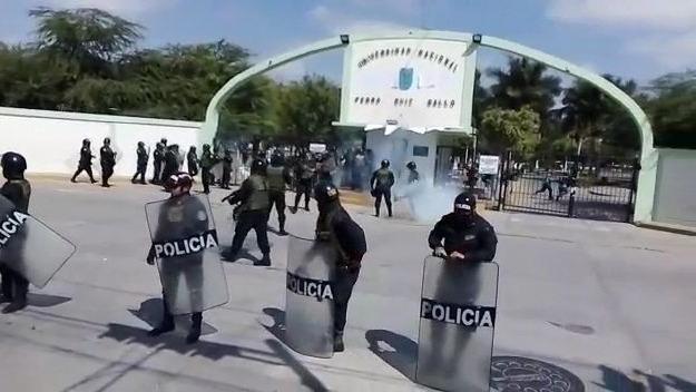 Policía Nacional acordonaba instalaciones de la Universidad Nacional Pedro Ruiz Gallo