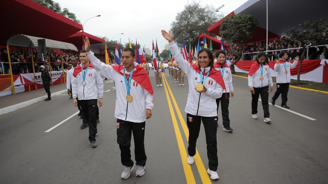 Desfile de medallistas de los Juegos Panamericanos 2019.