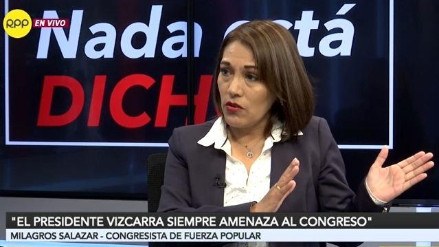 Milagros Salazar indicó que Fuerza Popular está a la espera que el Ejecutivo presente su proyecto de adelanto de elecciones.
