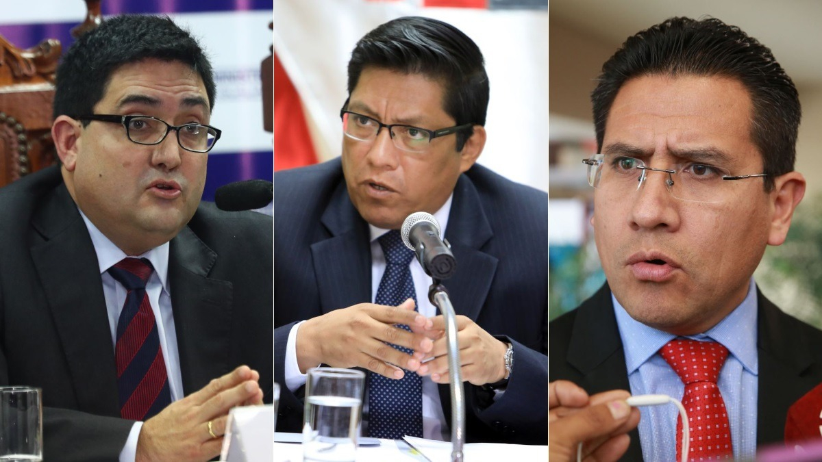 El ministro de Justicia, Vicente Zeballos (centro), explicó que ha solicitado un informe técnico sobre la denuncia del procurador Amado Enco (derecha) contra el procurador Jorge Ramírez (izquierda).