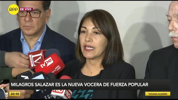 Fuerza Popular anunció en conferencia de prensa la elección de Milagros Salazar como su vocera en el Congreso.