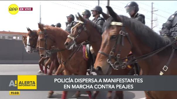 Algunos protestantes fueron detenidos por la Policía.