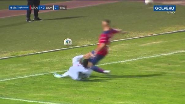 Así fue la mano dentro del área que no se cobró en el partido entre San Martín y Carlos A. Mannucci.
