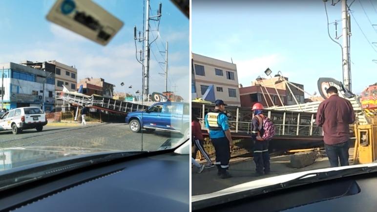 El panel cayó sobre los rieles del Ferrocarril Central del Perú.