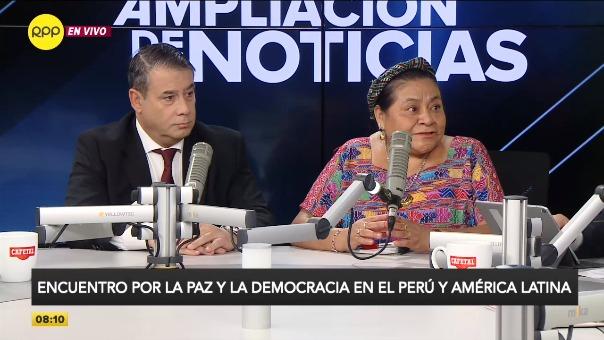 Rigoberta Menchú y Guillermo Whpei en Ampliación de Noticias