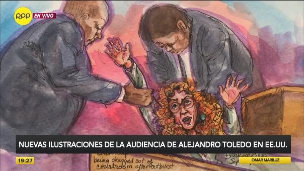 Estas son las ilustraciones de la audiencia de Alejandro Toledo en Estados Unidos.