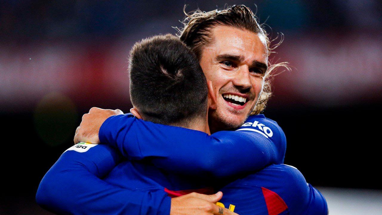Así celebraron Lionel Messi y Antoine Griezmann el primer gol del encuentro.