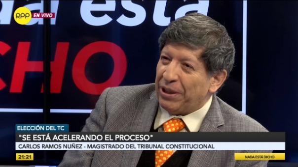El magistrado Carlos Ramos, durante la entrevista con el programa Nada está dicho de RPP.