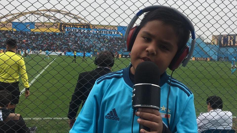 Cristobal narrando el gol de Cristian Palacios.
