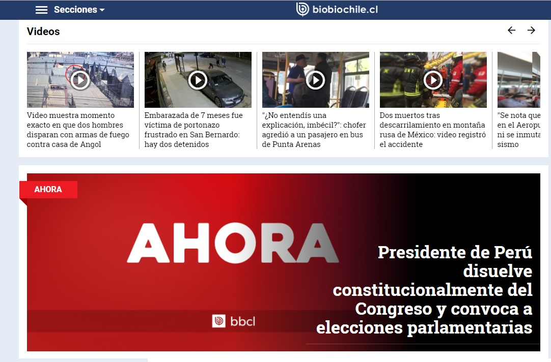 Bio Bio Chile destaca en su portada el anuncio del presidente peruano Martín Vizcarra, de disolver el Congreso de la República y convocar a nuevas elecciones parlamentarias.