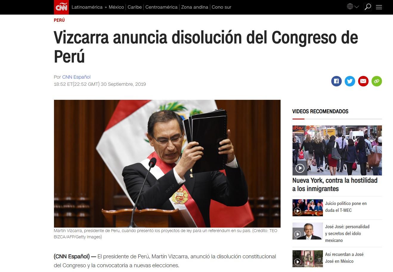 CNN muestra a un enfadado Martín Vizcarra en una publicación con el titular