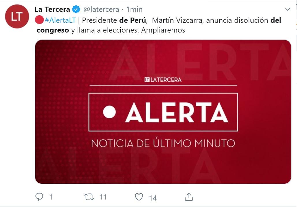 La Tercerade Chile emitió un tuit sobre la decisión política del presidente del Perú, Martín Vizcarra.