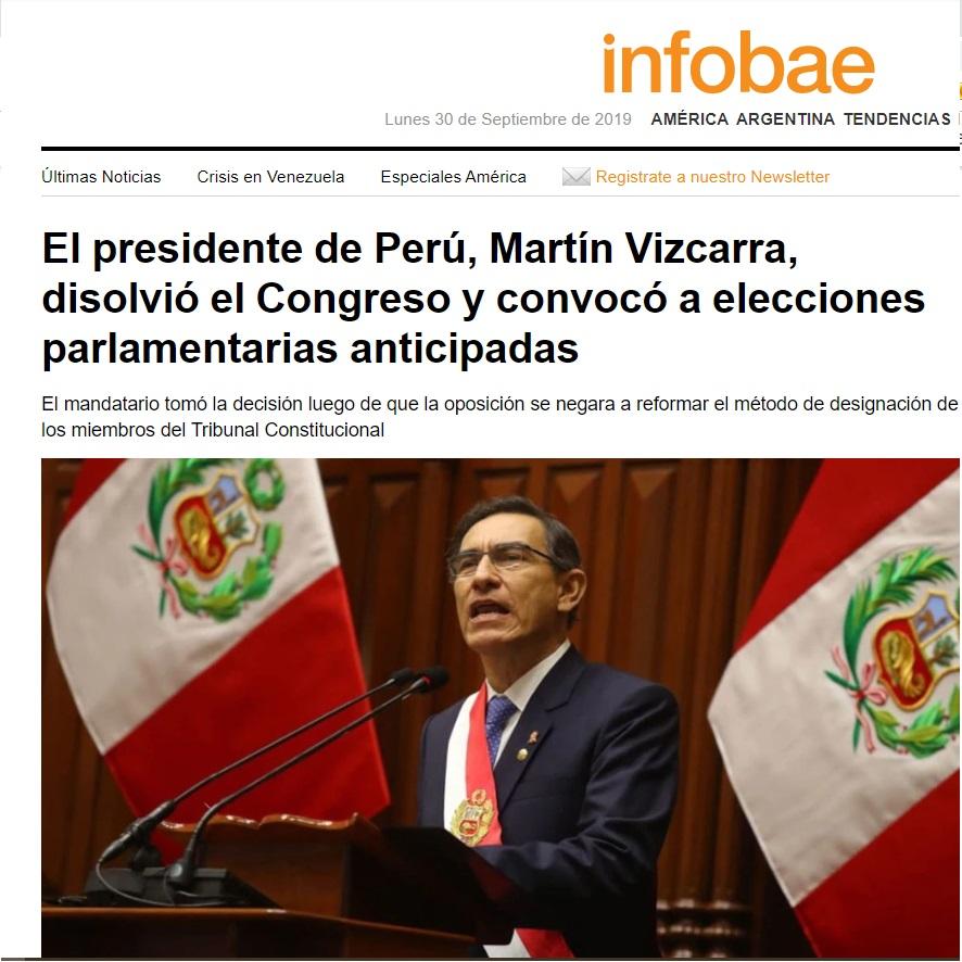 Infobae informa sobre el episodio histórico para el Perú: la disolución del Congreso Peruano por parte de Martín Vizcarra.