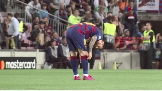 Lionel Messi y su reacción ante el gol de Lautaro Martínez