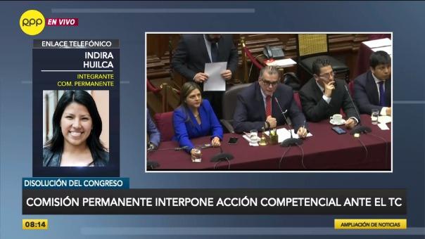 Declaraciones de Indira Huilca sobre el Tribunal Constitucional.