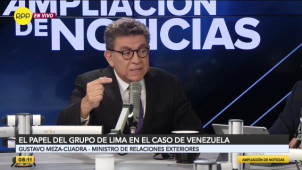 Canciller Gustavo Meza-Cuadra en entrevista con RPP Noticias.
