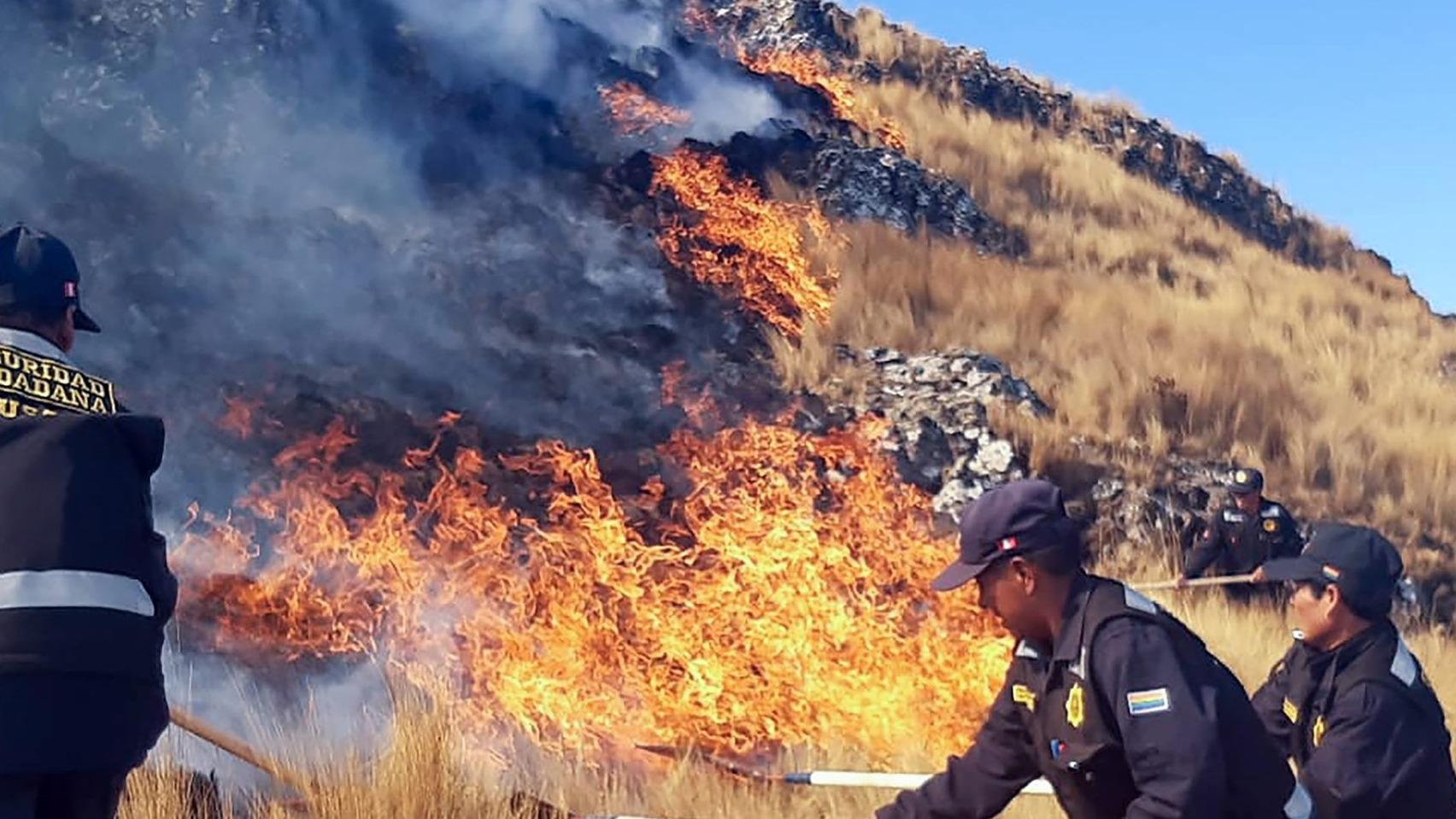 Incendio forestal en Cusco