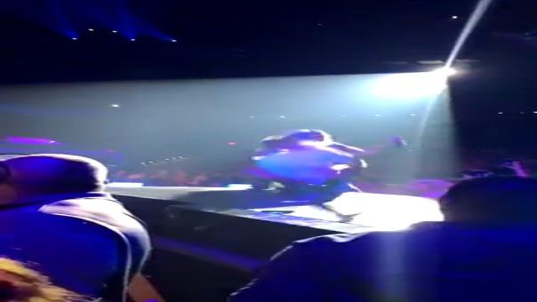 Lady Gaga cae del escenario junto a un fanático.