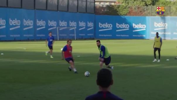 El amague de Lionel Messi a Griezmann en el entrenamiento de Barcelona