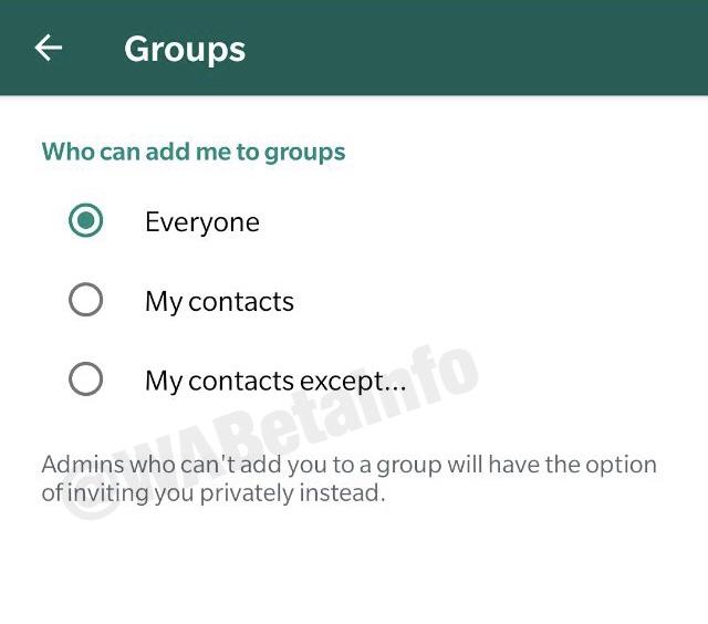 Esta es la pestaña de opciones en Android