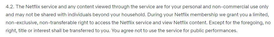 Los términos y condiciones de Netflix.