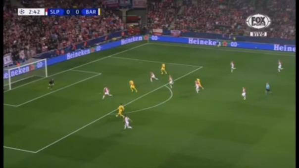 Lionel Messi y su gol con Slavia,