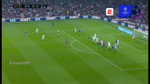 Clement Lenglet anotó el 1-0 a favor de Barcelona ante Valladolid en el Camp Nou