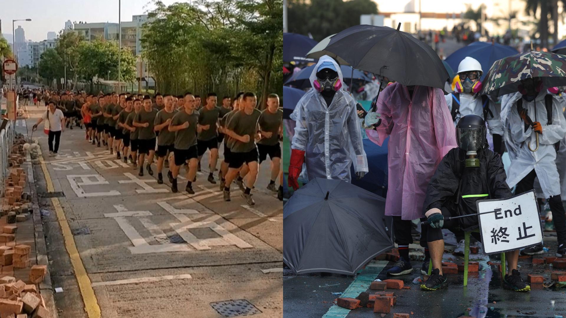 Insólita salida de las tropas chinas en las calles de Hong Kong multiplica los rumores sobre una posible intervención militar para terminar con seis meses de protestas prodemocráticas.