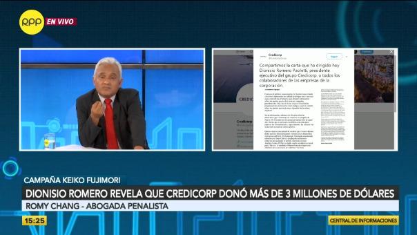 Romy Chang declara sobre el aporte de Dionisio Romero a la campaña electoral de Keiko Fujimori.