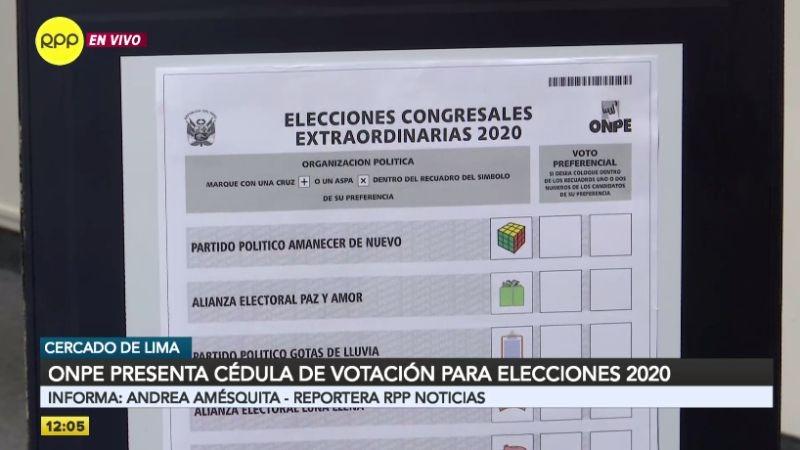 Así es el diseño de la cédula de sufragio de las elecciones 2020.