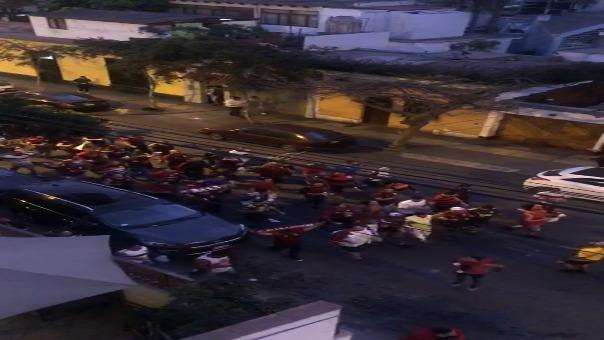 Los hinchas de Flamengo tomaron las calles de Miraflores