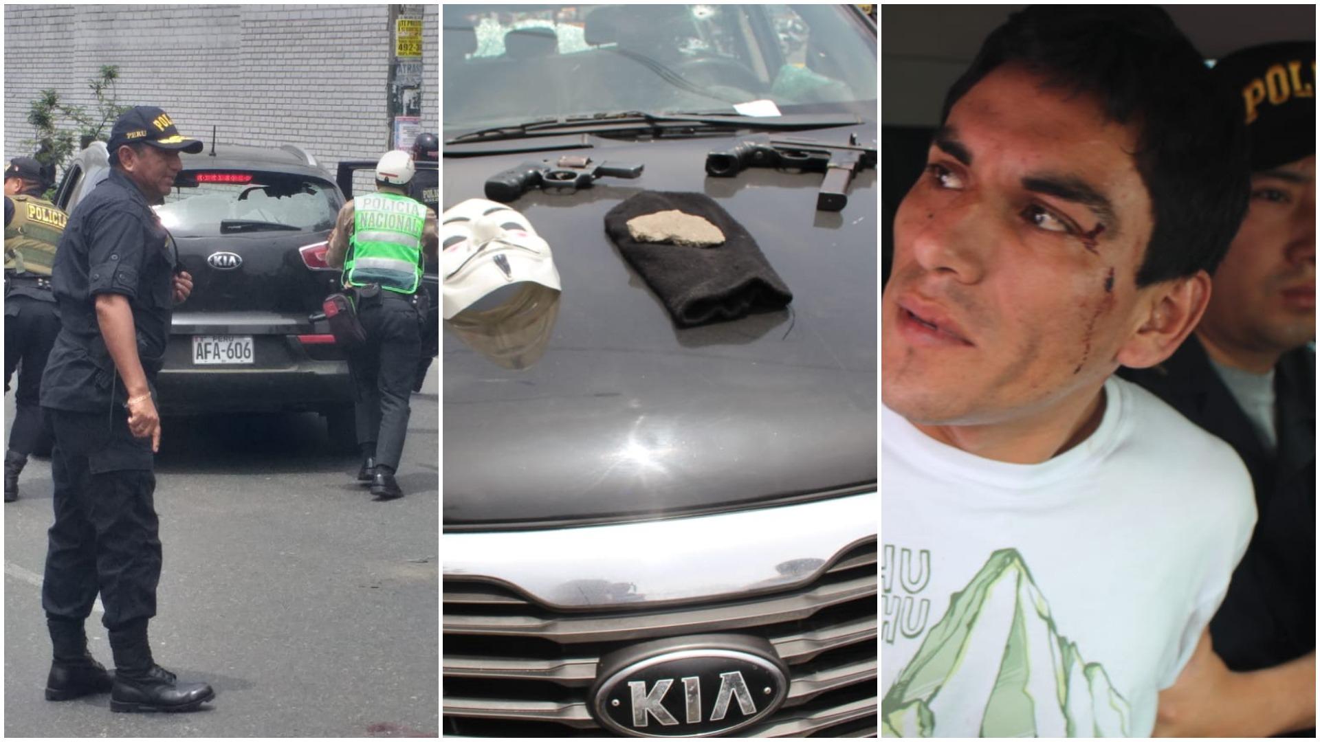 Al interior de la camioneta de los delincuentes se halló una ametralladora, un revólver, una pasamontañas y una máscara de Anonymous.