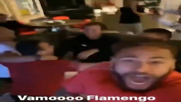 La celebración de Neymar del segundo gol de Flamengo.