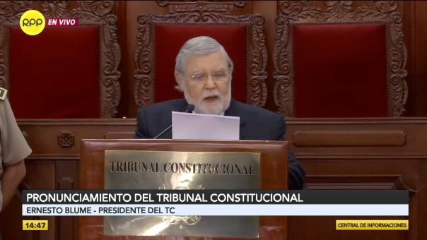 Ernesto Blume, presidente del Tribunal Constitucional