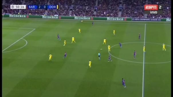 Messi recibió la tarjeta amarilla ante Borussia.