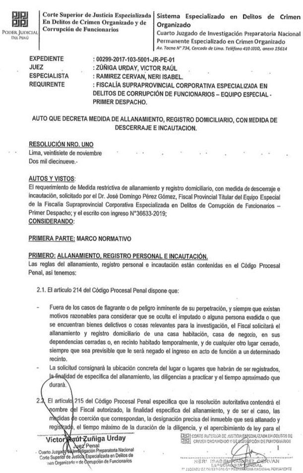 Orden de allanamiento a la sede de la Confiep.