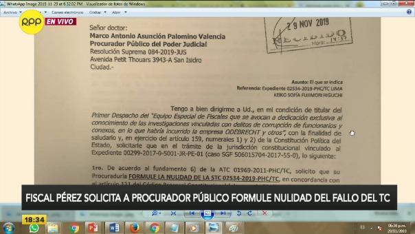 Fiscal José Domingo Pérez busca la nulidad de liberación de Keiko Fujimori mediante la Procuraduría del Poder Judicial.