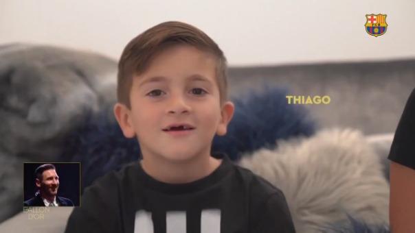 Los tres hijos de Lionel Messi y su esposa Antonella Roccuzzo se hicieron presentes en este video.