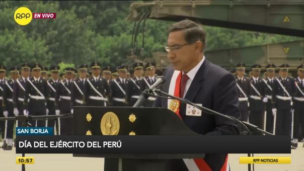 Presidente Vizcarra ofreció discurso por el Día del Ejército.