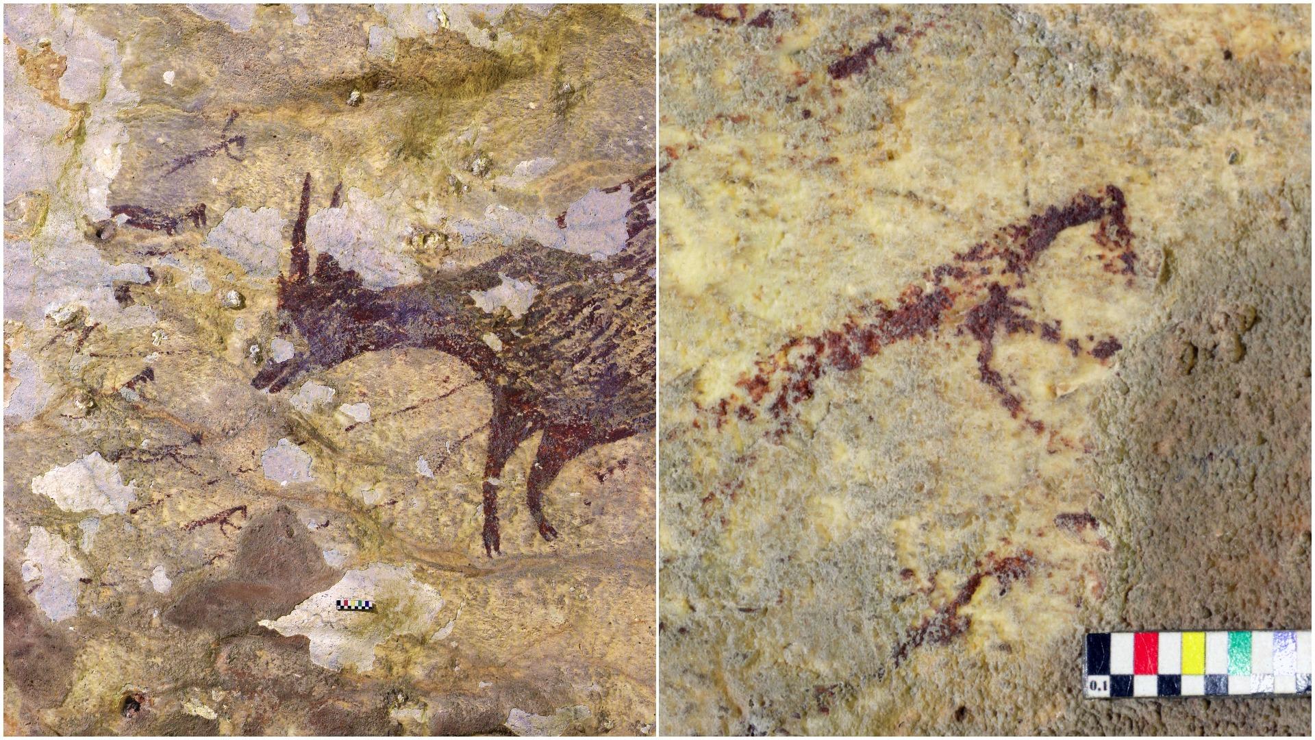 La composición, de 4,5 metros de ancho, muestra una escena con ocho figuras humanas armadas con lanzas y cuerdas, cazando a seis mamíferos.
