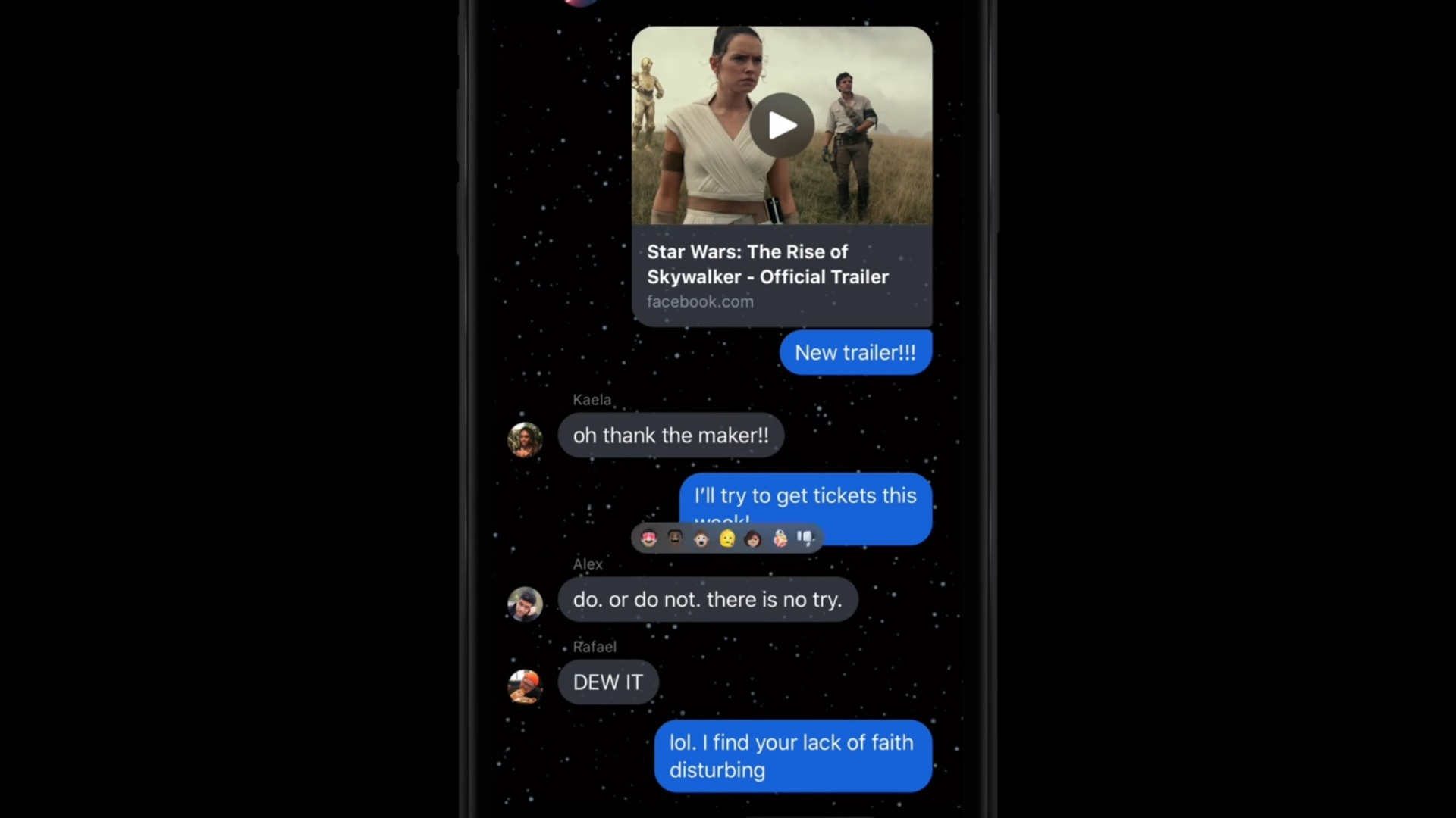 Tema de Star Wars para los chats de Messenger.