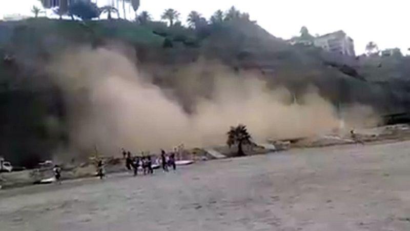 Este es el preciso instante del derrumbe en la Costa Verde.