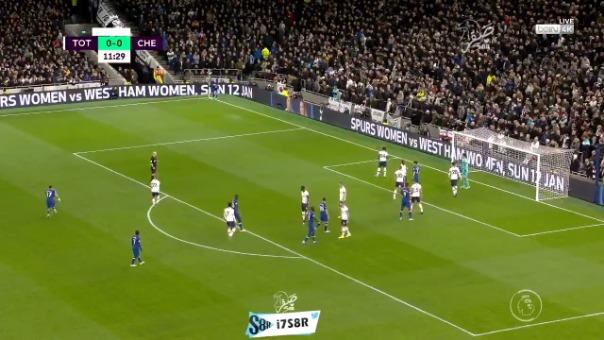 El potente remate de Willian sorprendió al portero de Tottenham en el partido por la Premier League