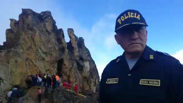 El jefe del frente policial Cajamarca, coronel Ricardo Trujillo, declaró a la prensa sobre las operaciones de búsqueda.