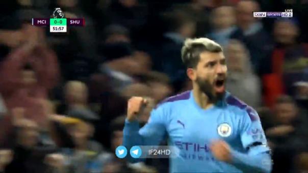 Así fue el gol de Sergio Agüero contra el Sheffield United.