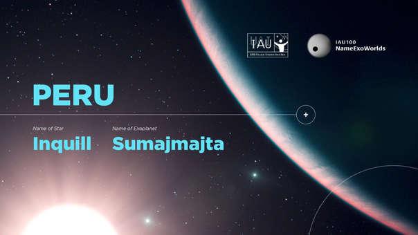 """La estrella y el exoplaneta de Perú: Nuestro país fue uno de los 70 afortunados que obtuvieron su propia estrella y exoplaneta en la competencia NameExoWorlds organizada por los 100 años de la creación de la Unión Astronómica Internacional. A Perú se le asignó el sistema planetario de la estrella HD 156411, el cual tiene el exoplaneta HD 156411 b. El nombre de la estrella es """"Inquill"""" y el del exoplaneta es """"Sumajmajta""""."""