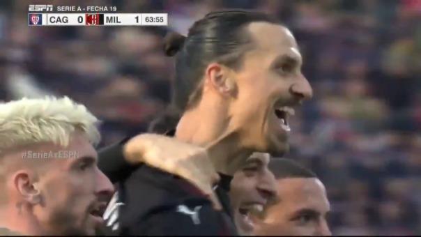 Así fue el gol de Zlatan Ibrahimovic contra el Cagliari.