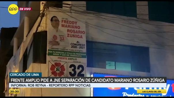 El Frente Amplio, a través de un comunicado, anunció el retiro de su candidato al Congreso.