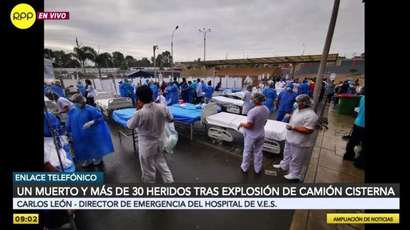 Más de 30 heridos fueron internados en el Hospital de Emergencias Villa El Salvador.